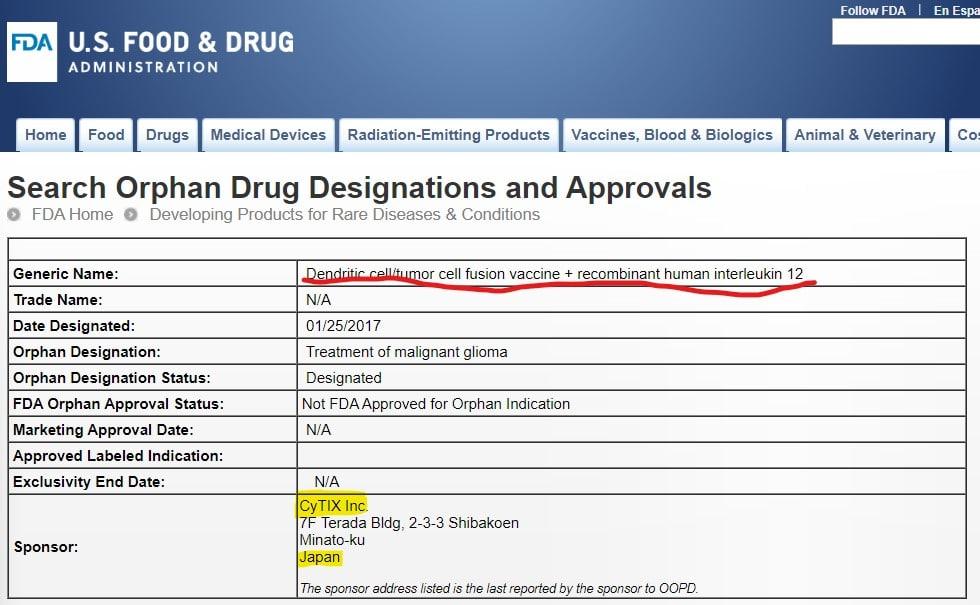 CyTIX_orphan_drug_designation 免疫療法